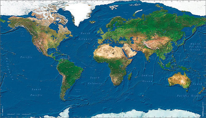 Wall Map - The world satellite image